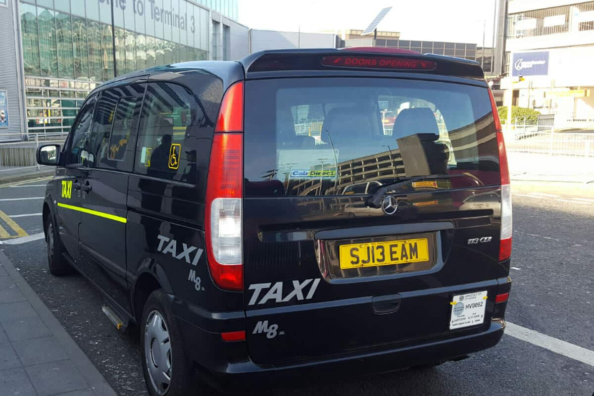 Manchester airport taxi back view